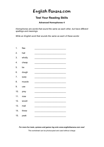 Advanced homophones 4 english banana using capital letters 4 ibookread PDF