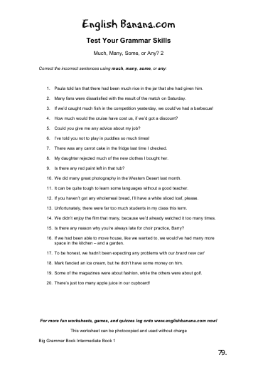 Much, Many, Some, or Any? 2 | English Banana on wedding guest list worksheets, i and me worksheets, preschool phonological awareness worksheets, some any worksheets, skip counting worksheets, double negatives worksheets, have has worksheets, preschool community helpers worksheets, was were worksheets, can and may worksheets,
