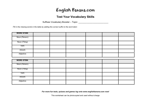 Suffixes Vocabulary Booster Blank Table – Blank Vocabulary Worksheets