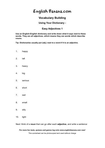 Using Your Dictionary Easy Adjectives 1 English Banana